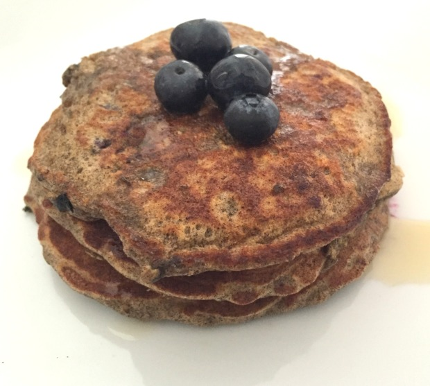 Blueberry Buckwheat Oatmeal Pancakes